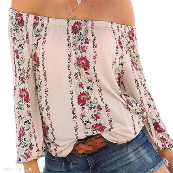 Fashion Youth Casual Vacation Loose Floral Off Shoulder Long Sleeve Blouse