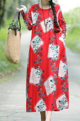 Fashion Vacation Casual Loose Floral Long Sleeve Maxi Dress