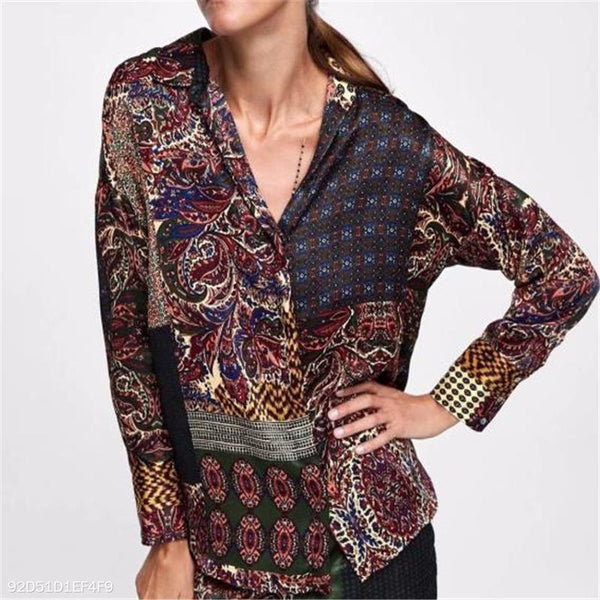 Fashion Casual Vacation Loose Floral Button V Collar Long Sleeve Blouse