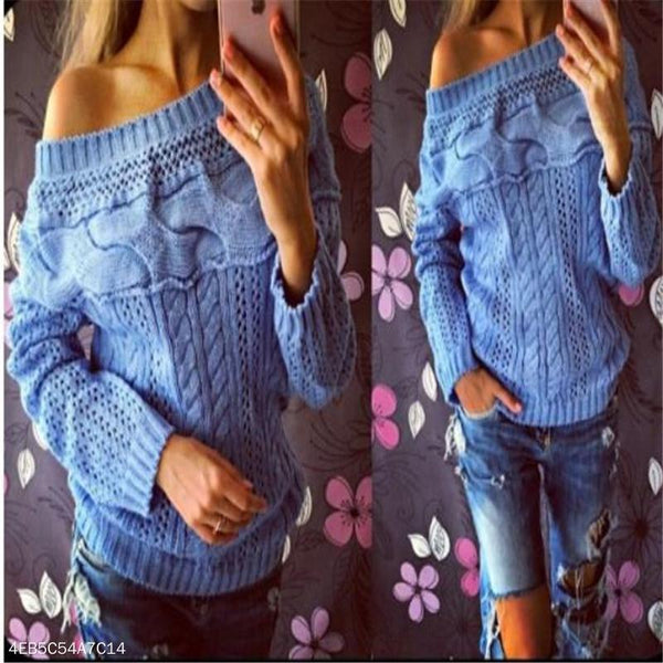 Fashion Casual Loose Plain Round Neck Long Sleeve Sweater