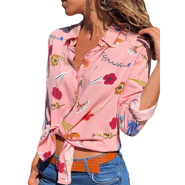 Flower Digital Print Long Sleeve Loose Lady Chiffon Shirt
