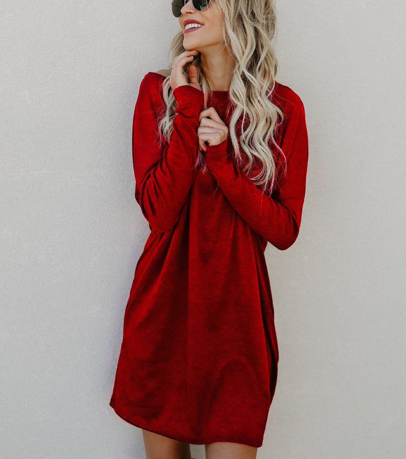 Pure Color Long-Sleeved Casual Knitted Dress
