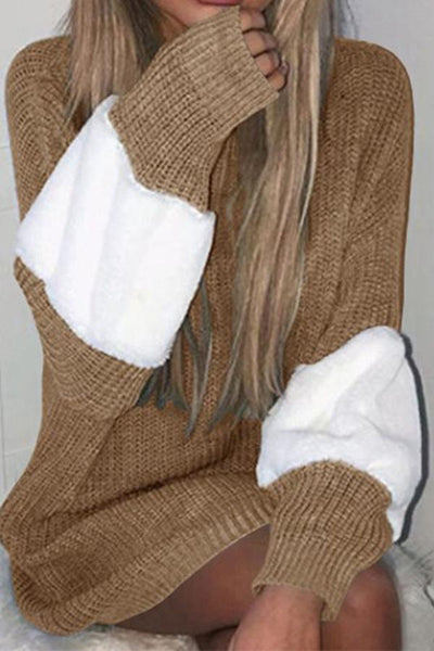 Contrast Loose Mid-Length Sweater