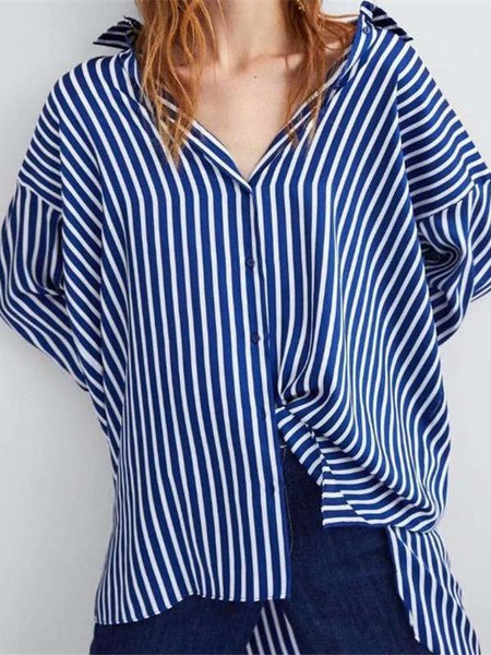 Fashion Casual Loose Strip V Collar Button Long Sleeve Blouse
