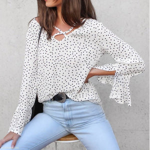 Sexy V-Neck Polka Dot Blouse