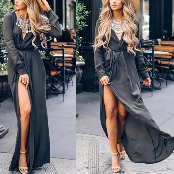 Sexy V-Neck Split Plain  Maxi Dress