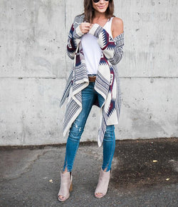 Long-Sleeved Irregular Printed Cardigan
