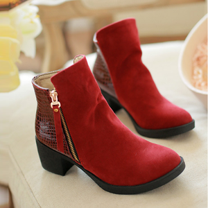 Stylish Style Large Size Plain Chunky Heel Shoes   Side Zipper Boots