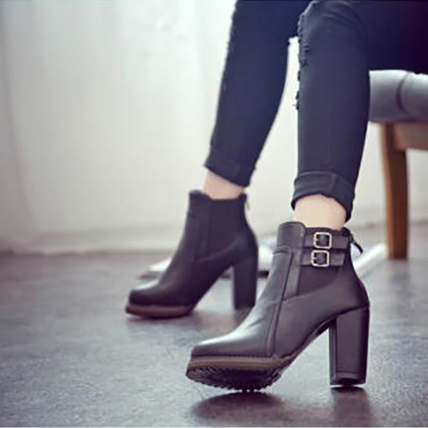 Vintage Thick With Belt Buckle Ankle Boots