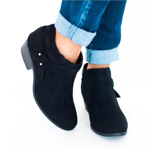 Side Zipper Thick Heel Ankle Boots
