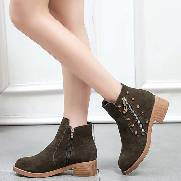 Studded Thick Round Toe Ladies Ankle Boots