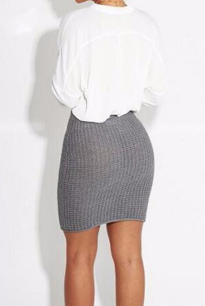 Fashion Casual Slim Plain High Waist Knitting Bodycon Skirt