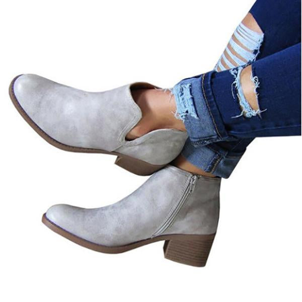 Side Zip Solid Color Ankle Boots