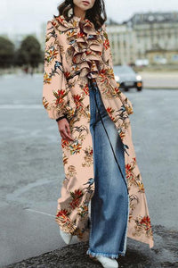 Elegant Fashion Loose Floral Ruffled Collar Puff Long Sleeve Fork Blouse