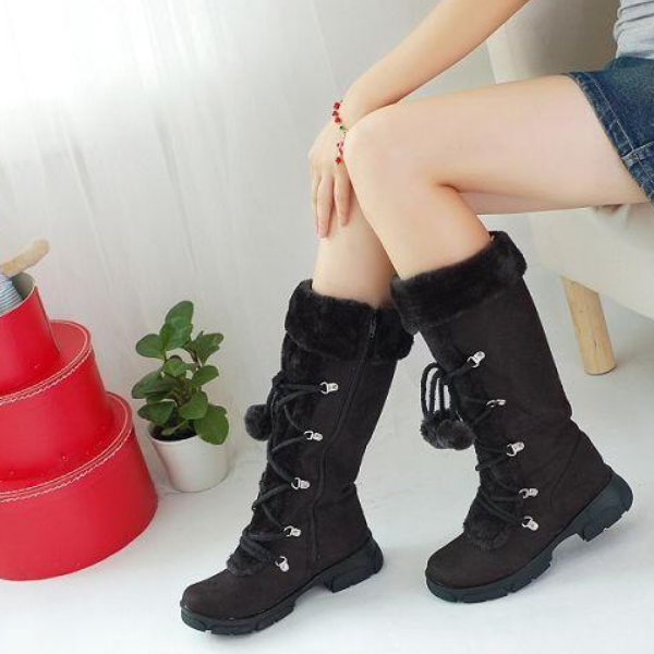 Women Warm Knee Boots Round Toe Hairball Shoes