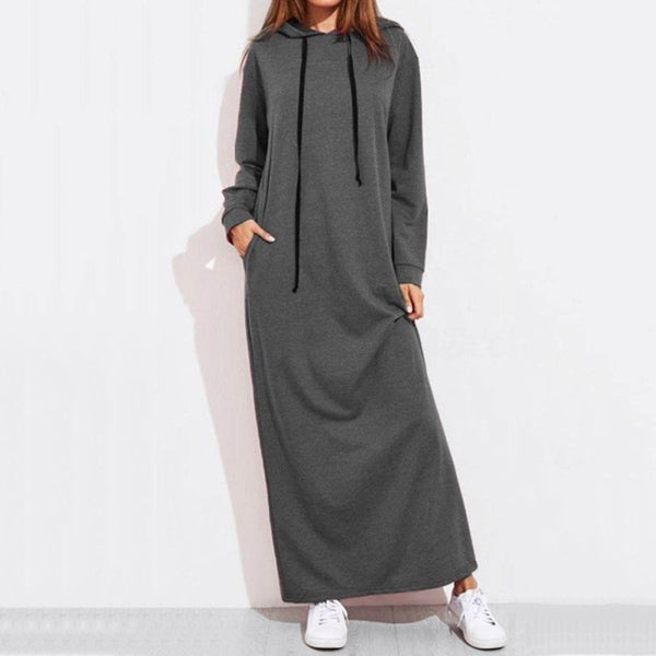 Hooded  Drawstring  Plain Maxi Dress