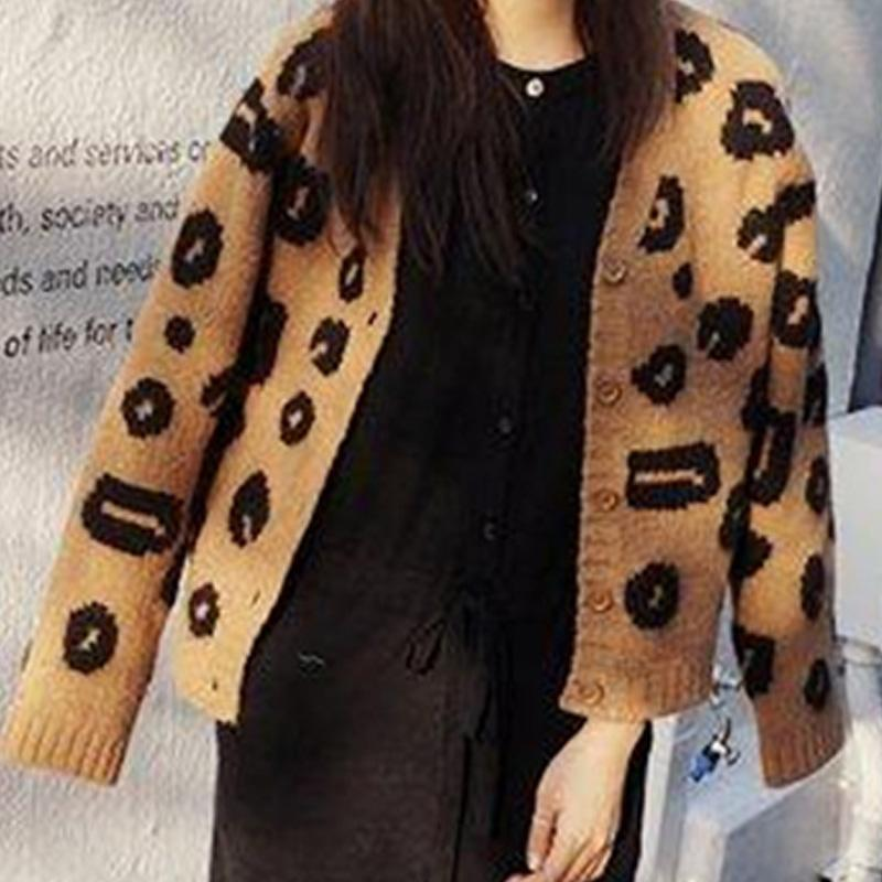 Fashion Leopard Print V-Neck Knit Cardigan