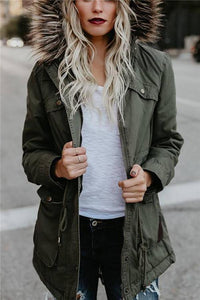 Fashion Hair Collar Full Cotton Long-Sleeved Jackets
