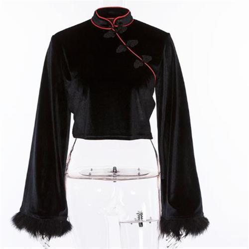 Fashion Round Collar Split Joint Floss Short Shirt Blouse