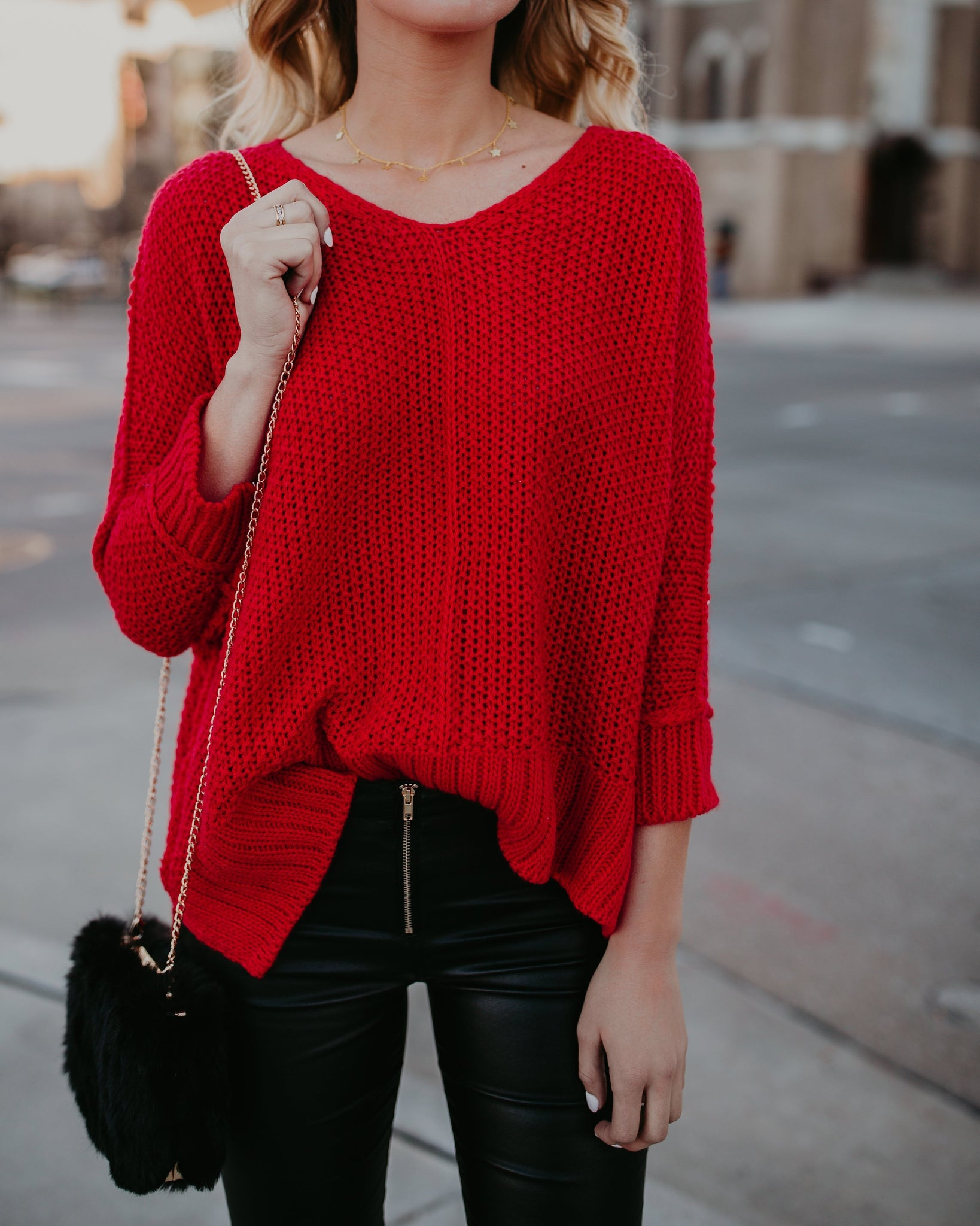 Fashion Red Long-Sleeved Knitting Sweater