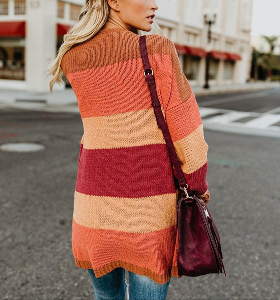 Fashion Color Stitching Knitting Sweater