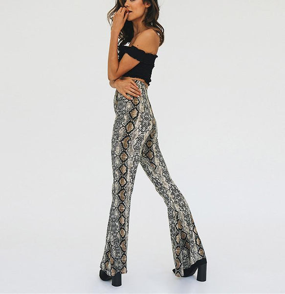 Fashion Snake-Print Horn Trousers
