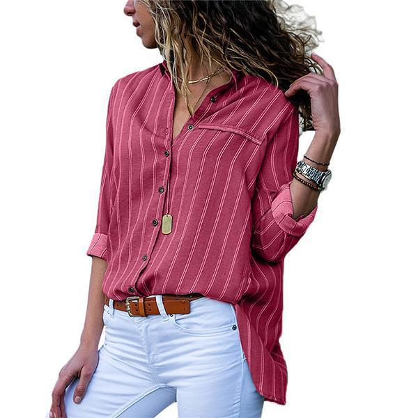 Striped Printed Loose Fit Long Sleeve Shirts