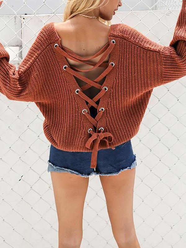 Fashion V-Neck Back Lace Up Bat Sleeve Sweater