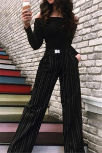 Loose Striped Wide-Legged Slacks