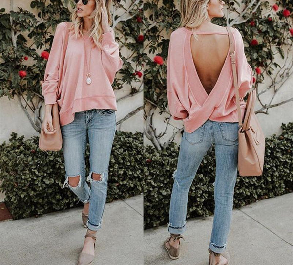 Fashion Autumn Pure Color Open Back Irregular Top