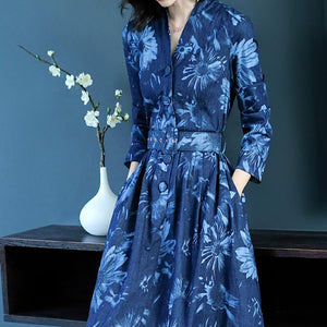 Sexy Denim Long   Sleeves Floral Print Maxi Dress
