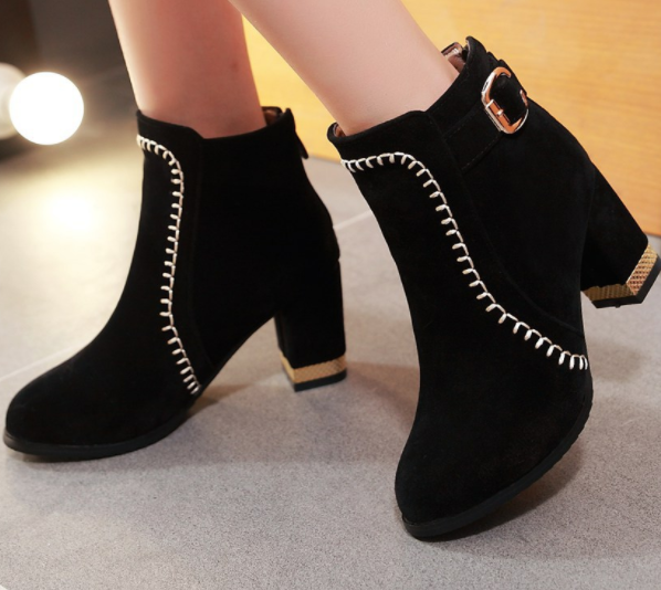 Comfortable Heel With High Heel Suede Boots