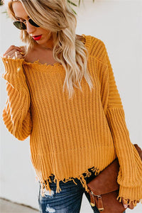Long-Sleeved V-Neck Plain Open-Back Sweater