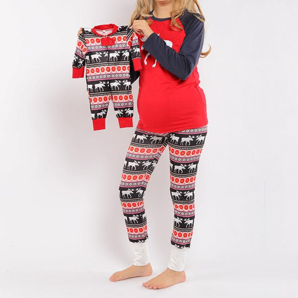 Christmas Reindeer Pattern Color Block Family Pajamas