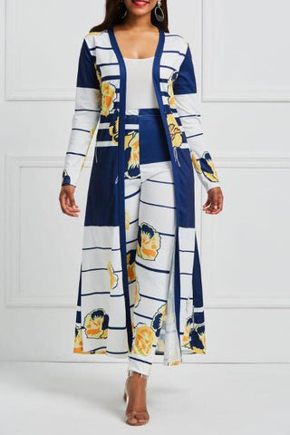 Casual Fashion Slim Print Long Sleeve Long Cardigan Pants Suit