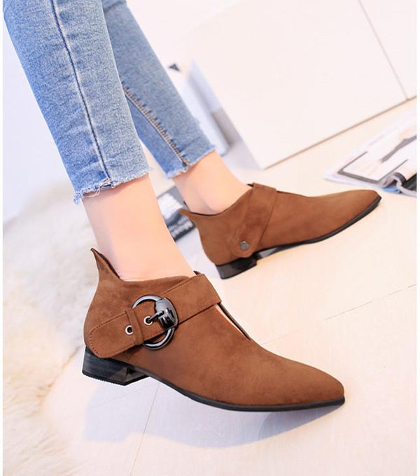 Solid Color Belt Buckle Thick And Fluffy Comfortable Low Boots