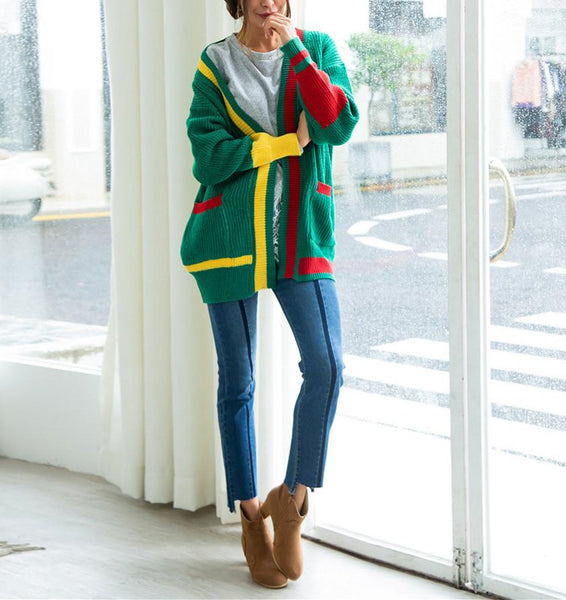 Christmas Knitting Loose Coloured Sweaters