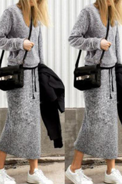 Fashion Long-Sleeved Shirt Long Skirt Two-Piece Suit