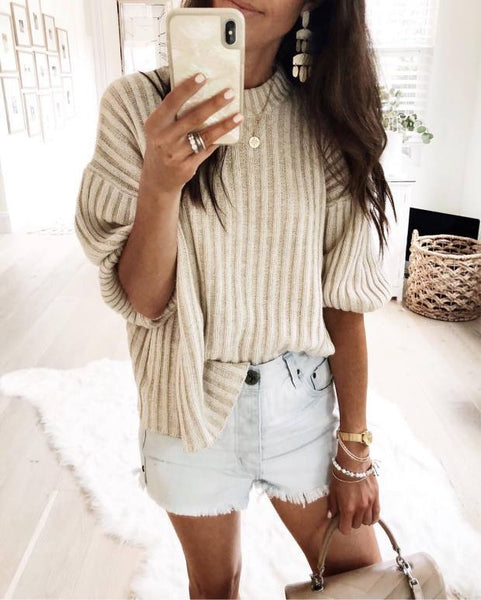 Autumn And Winter Fashion Pure Color Pit Strip Knitted Top
