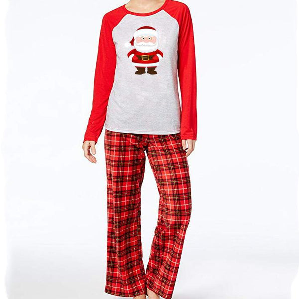 Christmas Round Collar Shirt Check Pants Family Suit