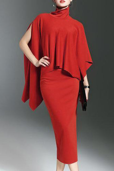Fashion Pure Colour High Collar Cloak And Skirt