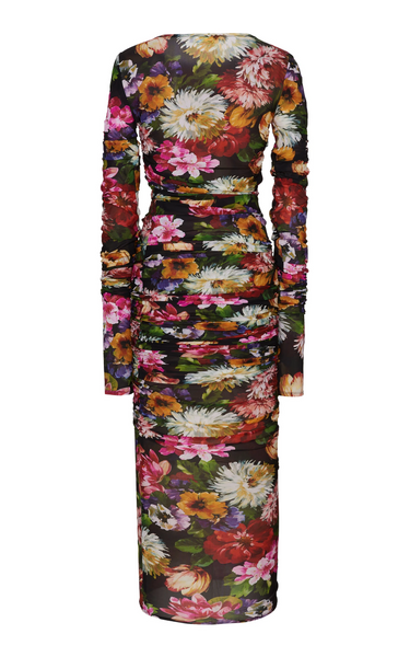 🔥Flash Sale Fashion Round Collar Floral Printed Trim Hip Bodycon Dress