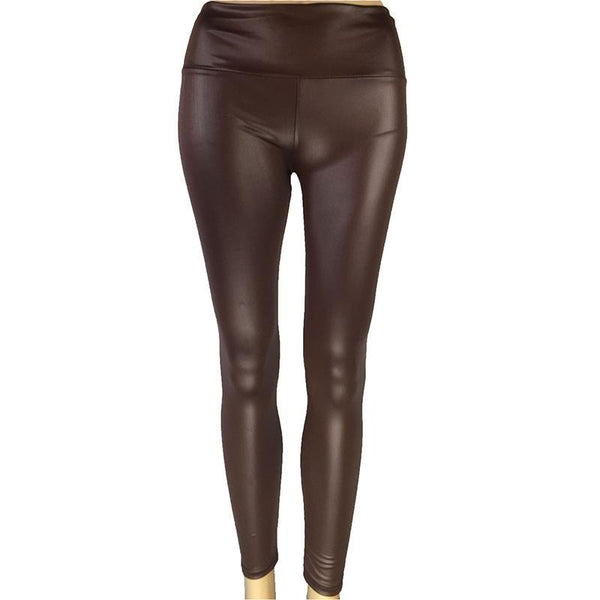 High Waist PU Slim Fitting Legging Pants