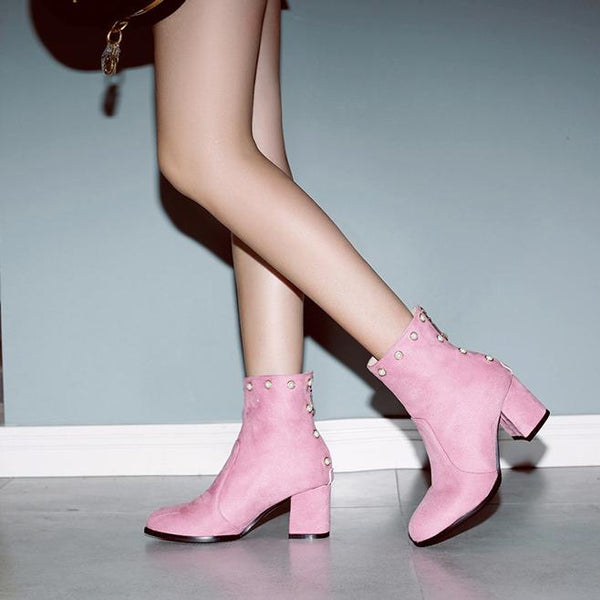 Fashion Pure Colour Pearl High Heels Short Boots