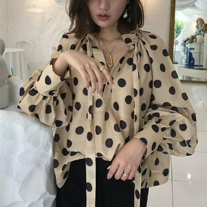 Fashion Polka Dot Lantern Sleeve Loose Shirt