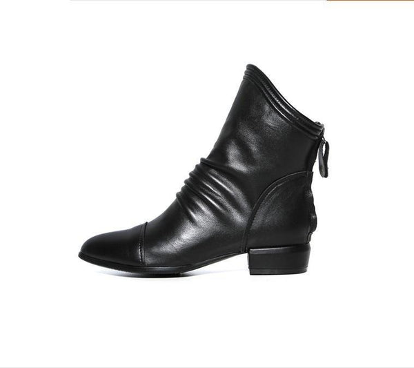 Autumn And Winter Tip Thick With Back Zipper Boots