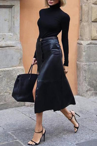 Fashion Single-Breasted Leather   Skirt