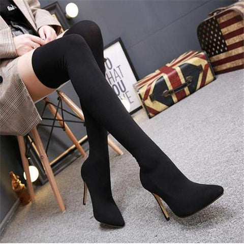 Sweet Elegant Fashion Plain High Sock Tube High Heel Boots