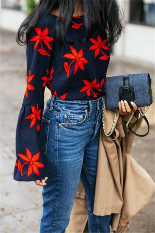 Fashion Round Collar Red Flower Long-Sleeved Shirt