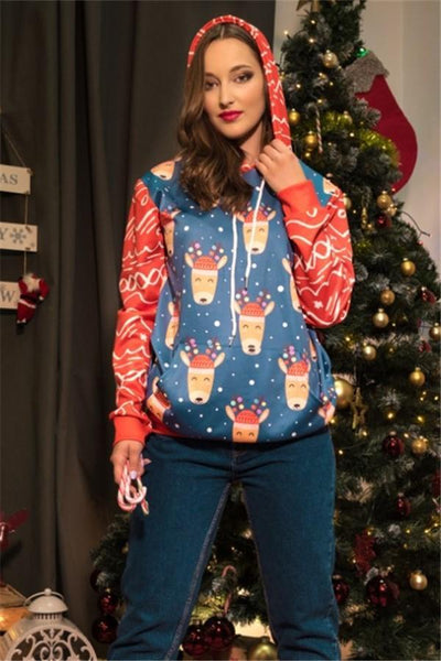 Christmas Round Neck Loose Printed Long Sleeve Sweater